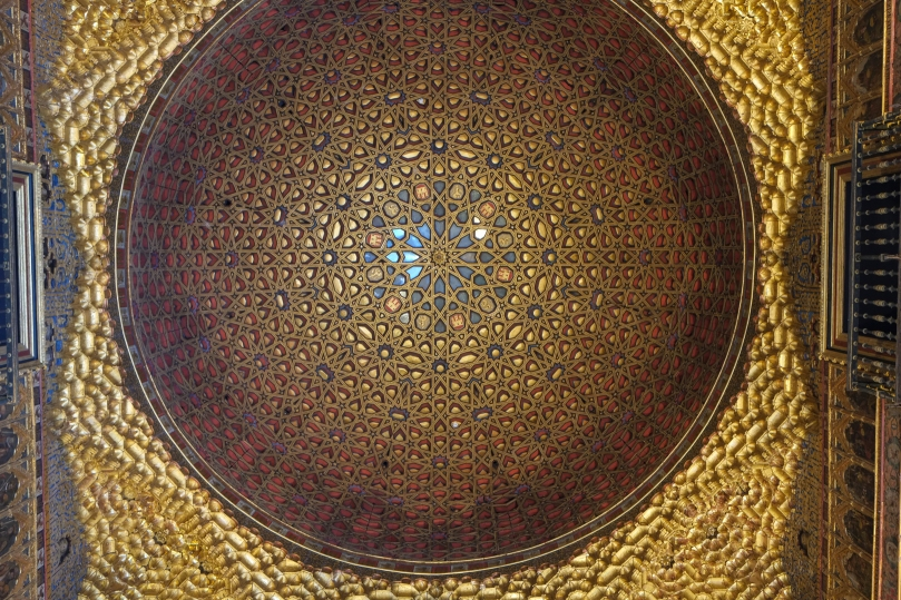 Sevilla Spain: Ceiling detail in The Royal Alcazar which is a Wo