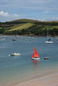 Salcombe, Devon, UK. Sailing on the river is a popular activity for visitors to Salcombe.