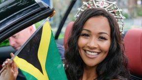 Preston, UK. 25th June 2017. Preston's own Miss England 2016, Elizabeth Grant led the traditional Caribbean Carnival through the city's streets. Preston Carnival is the largest and longest running cultural celebration outside of Preston Guild. The event was cancelled last year due to funding problems but a scaled down parade thrilled onlookers and brought colour to the streets.