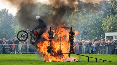 Preston, UK. 16th September 2017. The Royal Signals, White Helmets display team delivered their last ever public performance before being disbanded at the Preston Military Show. The team thrilled onlookers at Fulwood Barracks in the city, showing off their skills on motorbikes, which will now be auctioned off. The White Helmets have spent 90 years putting on their breathtaking displays at shows around the country. The team was originally founded in 1927 to show off the skills required by Royal Signals' soldiers.