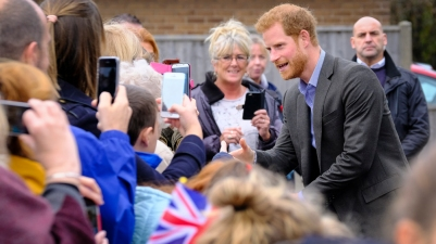 St Michael's on Wyre, UK. 23rd October 2017. Prince Harry returned to St Michael's on Wyre, in follow up to his visit to the flood affected village in February 2016. Around 1700 businesses and homes were damaged across the Lancashire district in the lead up to New Year in 2016. His Royal Highness met local school children and members of the community to learn about the recovery that has been achieved by the local people. Prince Harry officially reopened the village hall at a reception attended by those who played a crucial role in response to the flooding crisis.