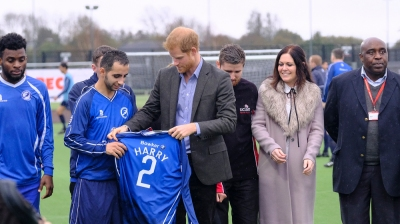 Preston, UK. 23rd October 2017. Prince Harry visited the University of Central Lancashire's (UCLan) Sports Arena where he saw the Sir Tom Finney Soccer Development Centre and the Lancashire Bombers Wheelchair Basketball Club - two community organisations using the power of sport as a means for social development and inclusion. During the visit, His Royal Highness will meet a diverse group of people of all ages and abilities who participate in training sessions and local leagues together, with a view to building new and unique friendships. Both organisations are involved with Sported, the sport development charity with which Prince Harry has an existing connection.