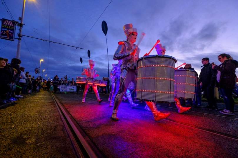Carnival of Light attracts crowds to Blackpool, UK.