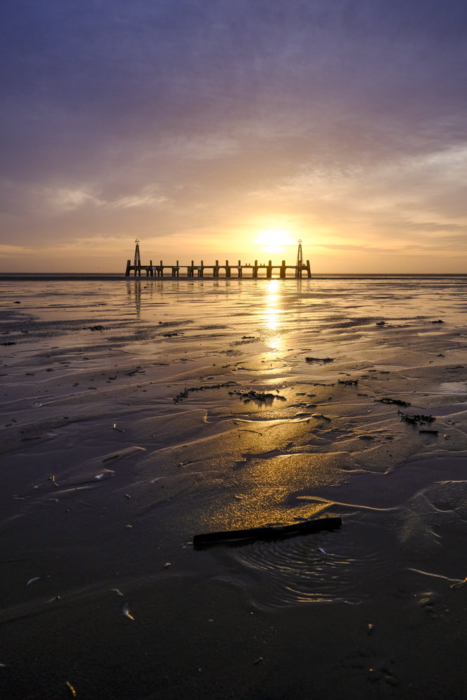 UK Weather. Sunset at Lytham St Annes
