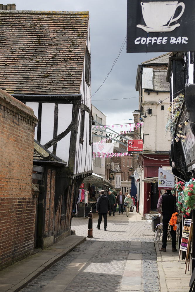The narrow shopping streets in York City Centre