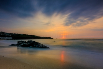 Porthmeor Beach, St Ives in Cornwall at sunset