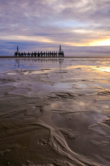 The remains of an old Landing Jetty on the beach at Lytham St Annes, nera Blackpool on the Fylde Coast.