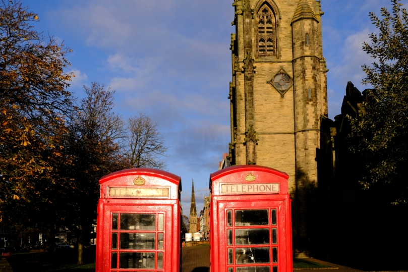 Two telephone boxes on Lord Street in Southport